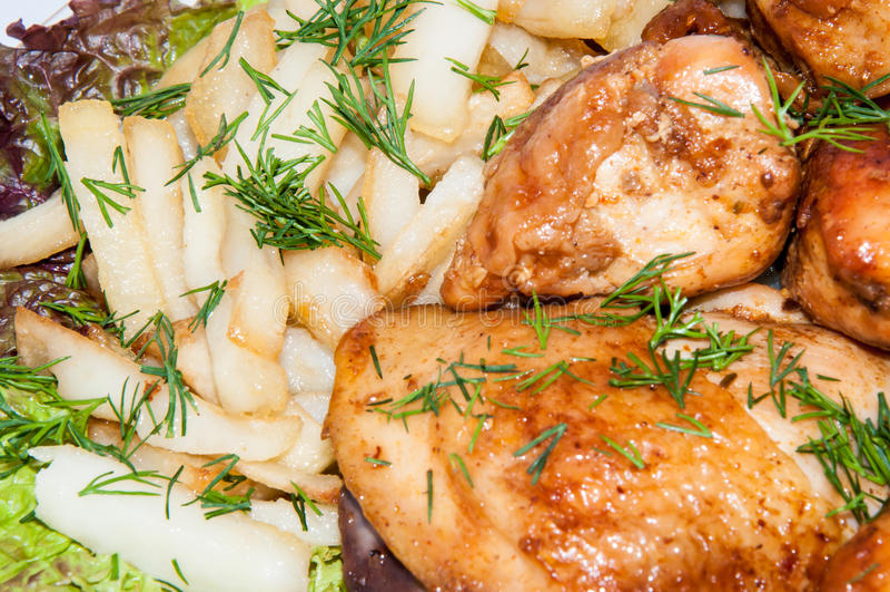 Poulet frit… image stock