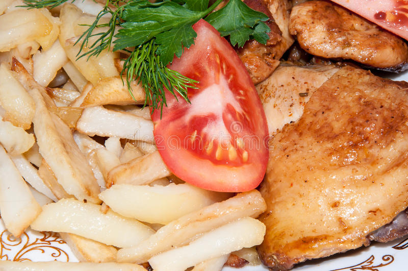 Poulet frit. images stock