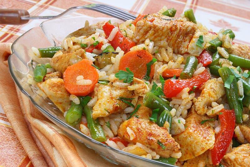 Poulet frit avec du riz images stock