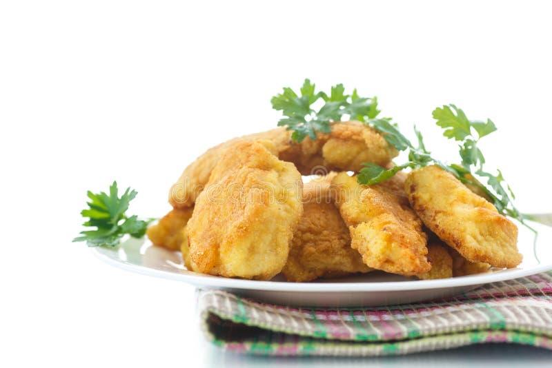 Poulet frit dans la pâte lisse images stock