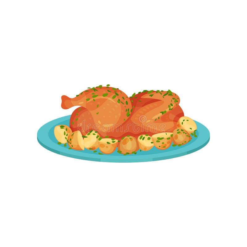 Poulet frit servi avec des pommes de terre d'un plat, illustration savoureuse de vecteur de plat de volaille sur un fond blanc illustration stock