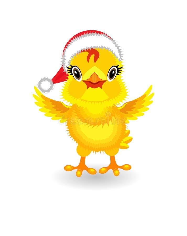 Poulet jaune dans le chapeau de Santa Claus sur le fond blanc illustration stock