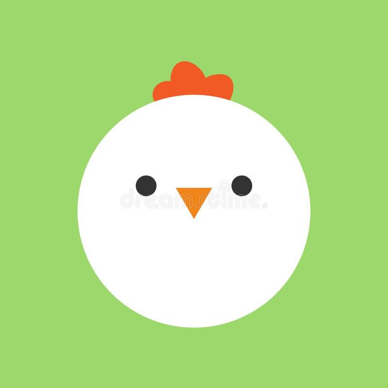 Poulet mignon, icône ronde de vecteur de poule illustration stock