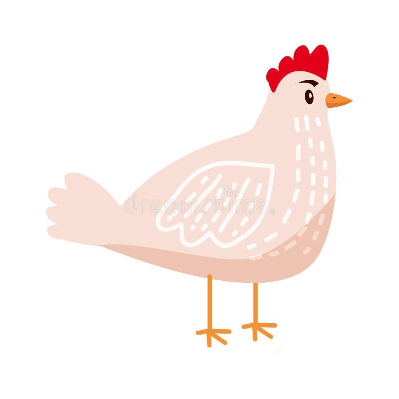 Poulet mignon, poule, animal, oiseau, tendance, style de bande dessin?e, vecteur, illustration, d'isolement sur le fond blanc illustration libre de droits