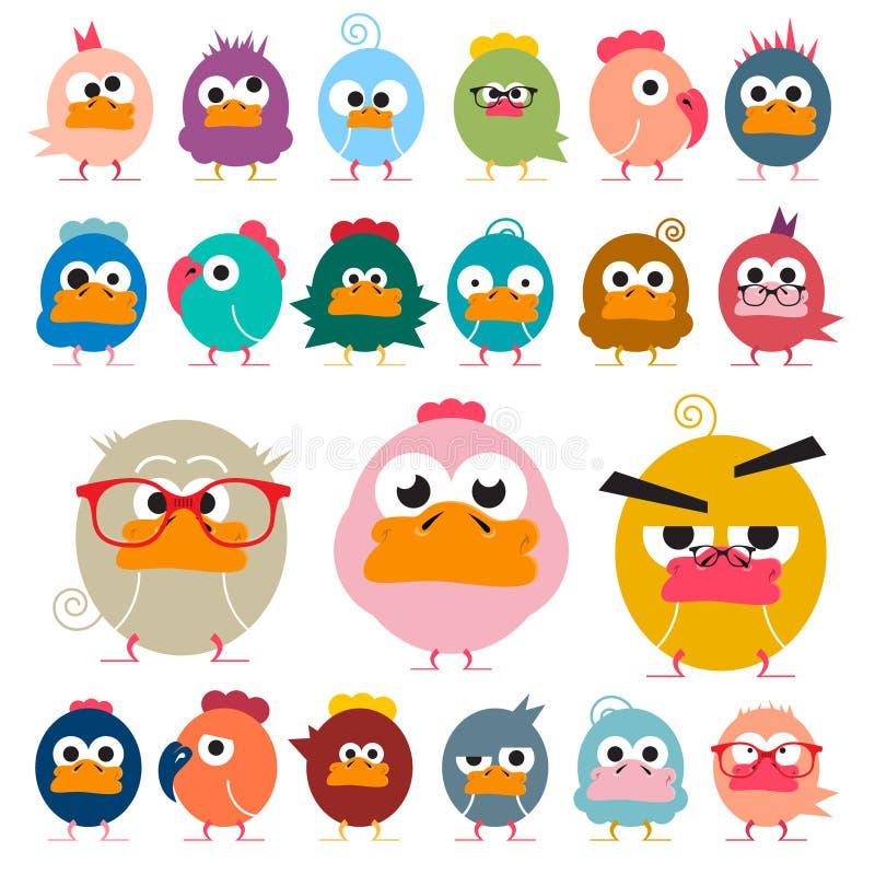 poulet Oiseaux géniaux réglés illustration stock