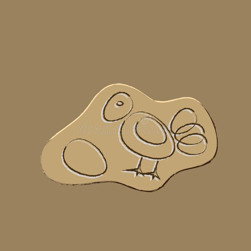Poulet ou les fossiles d'oeufs illustration libre de droits