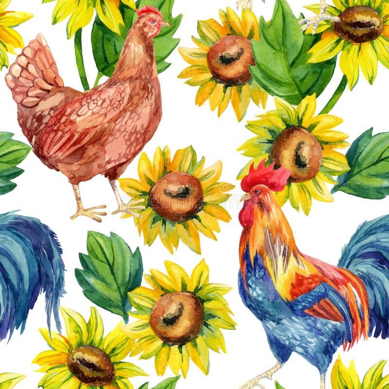 Poulet, poule, coq Peinture d'aquarelle illustration de vecteur