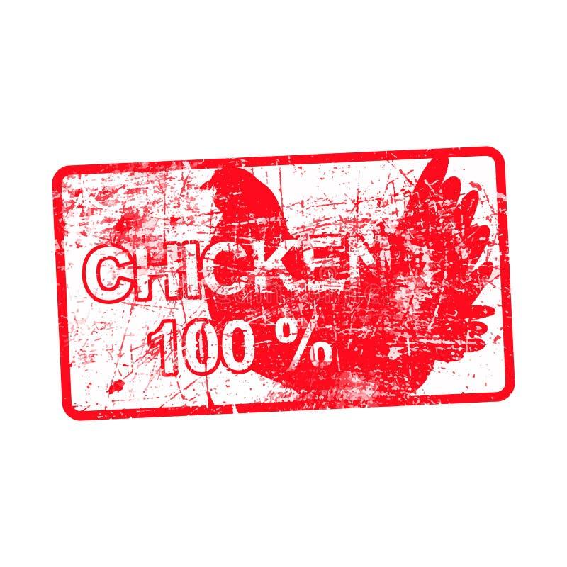 Poulet 100 pour cent - timbre sale en caoutchouc rouge dans rectangulaire illustration libre de droits