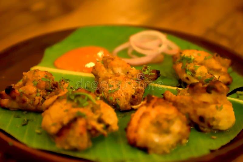 Poulet rôti, kabab de Reshmi de poulet, cuit au four, restaurant, nourriture photos stock