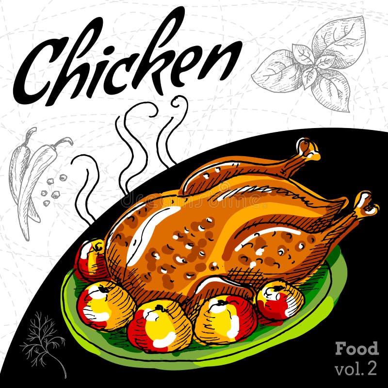 Poulet rôti de gril illustration stock