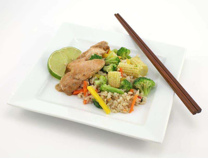 Poulet thaï avec du riz image stock