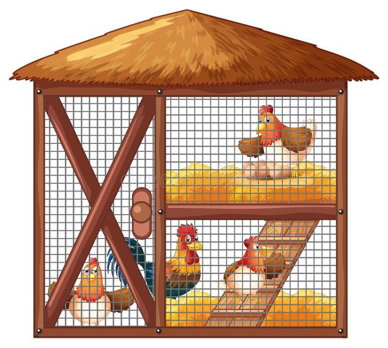 Poulets dans la cage de poulet illustration de vecteur
