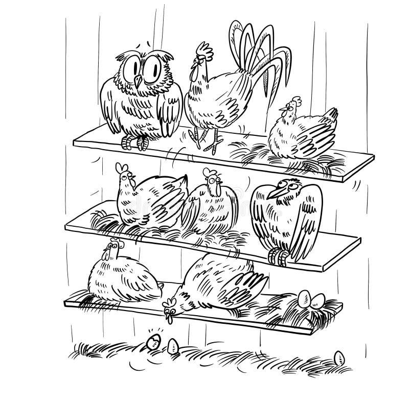 Poulets dans la découpe d'illustration de bande dessinée de maison de poule tirée par la main sur le fond blanc illustration libre de droits