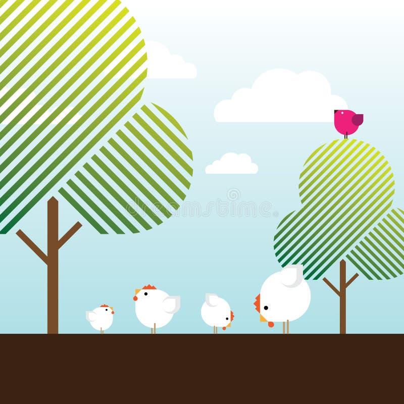 Poulets libres de ferme d'intervalle, oiseau magenta et arbres illustration libre de droits