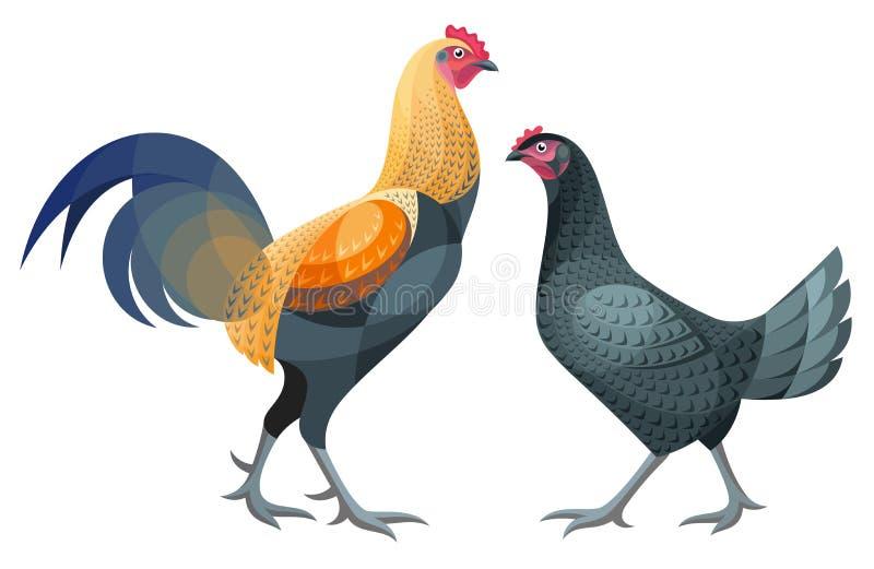 Poulets stylisés - illustration de vecteur illustration de vecteur