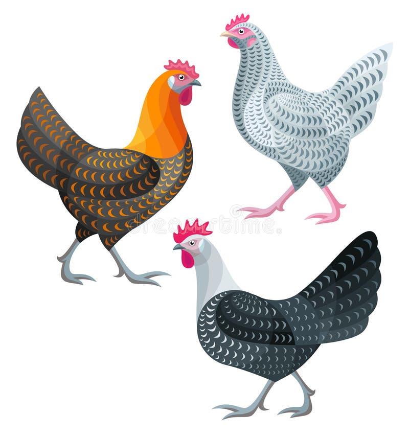 Poulets stylisés - poules illustration stock