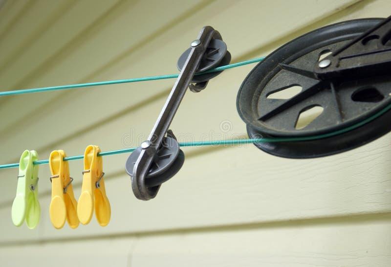 Poulie de corde à linge photo stock