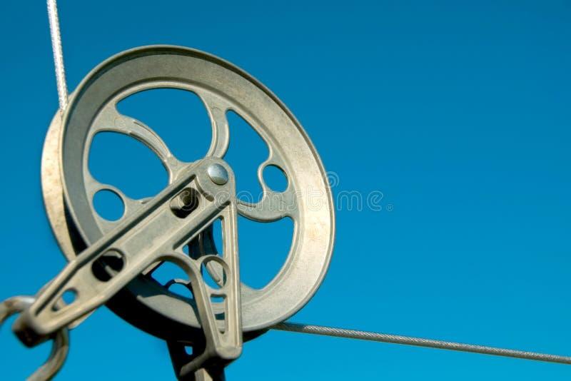 Poulie de corde à linge images libres de droits