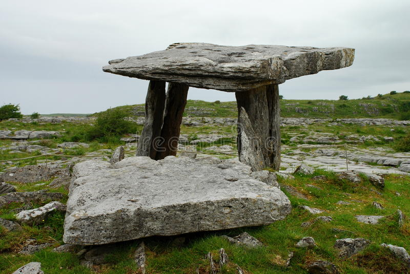 Poulnabrone dolmen. Burren, County Clare. Ireland royalty free stock photo