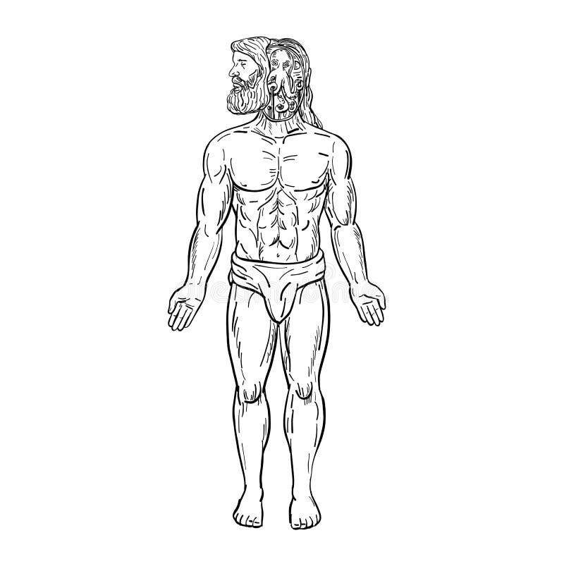 Poulpe étranger à l'intérieur de la tête du dessin humain noire et blanche illustration libre de droits