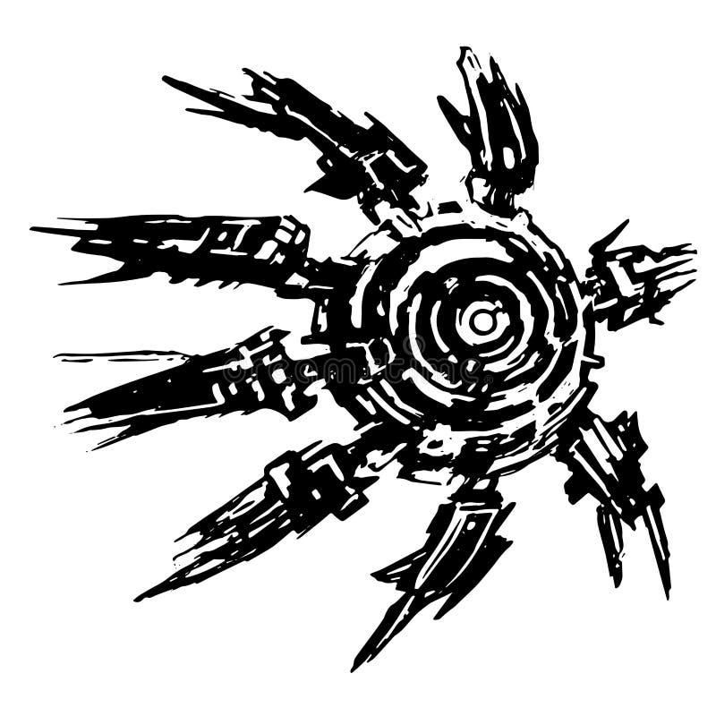 Poulpe étranger de vaisseau spatial dans l'avant Illustration de vecteur illustration stock
