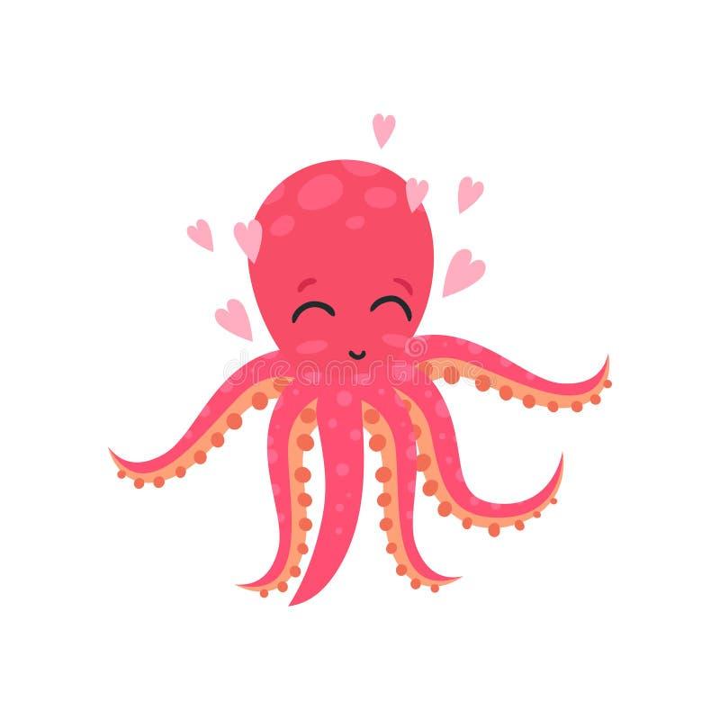 Poulpe affectueux mignon entouré par les coeurs roses Personnage de dessin animé drôle d'animal de mer Conception plate de vecteu illustration de vecteur