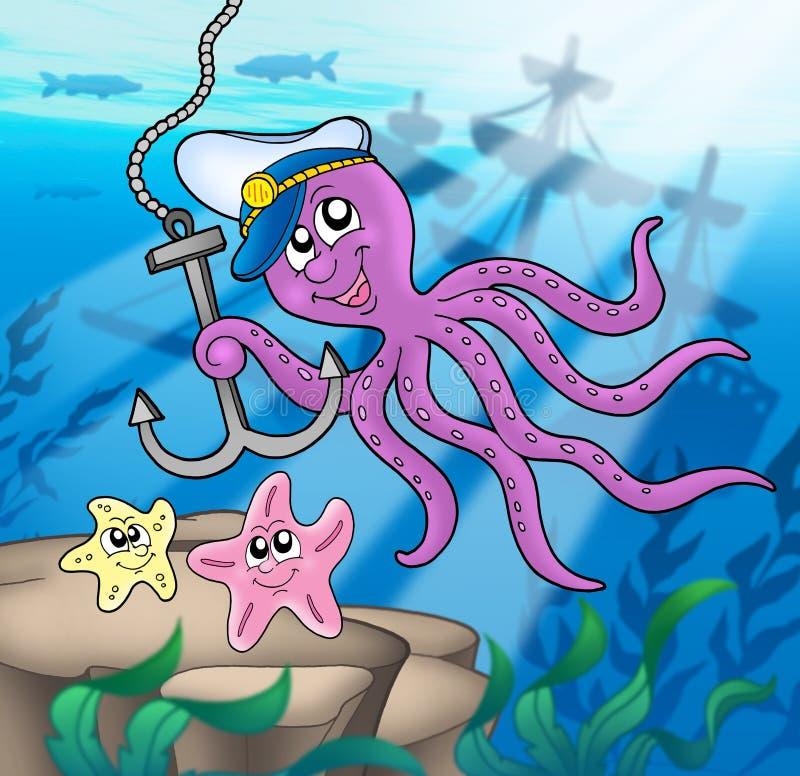 Poulpe avec le point d'attache et les étoiles de mer illustration de vecteur
