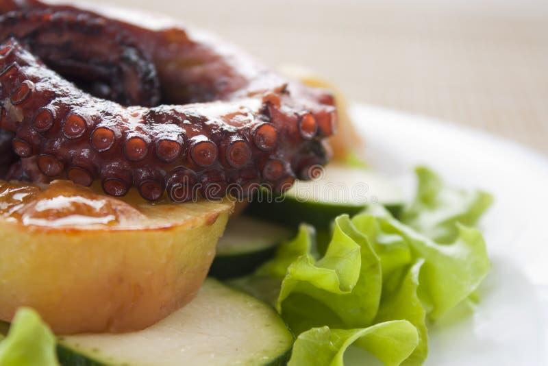 Poulpe cuit au four avec des légumes images stock