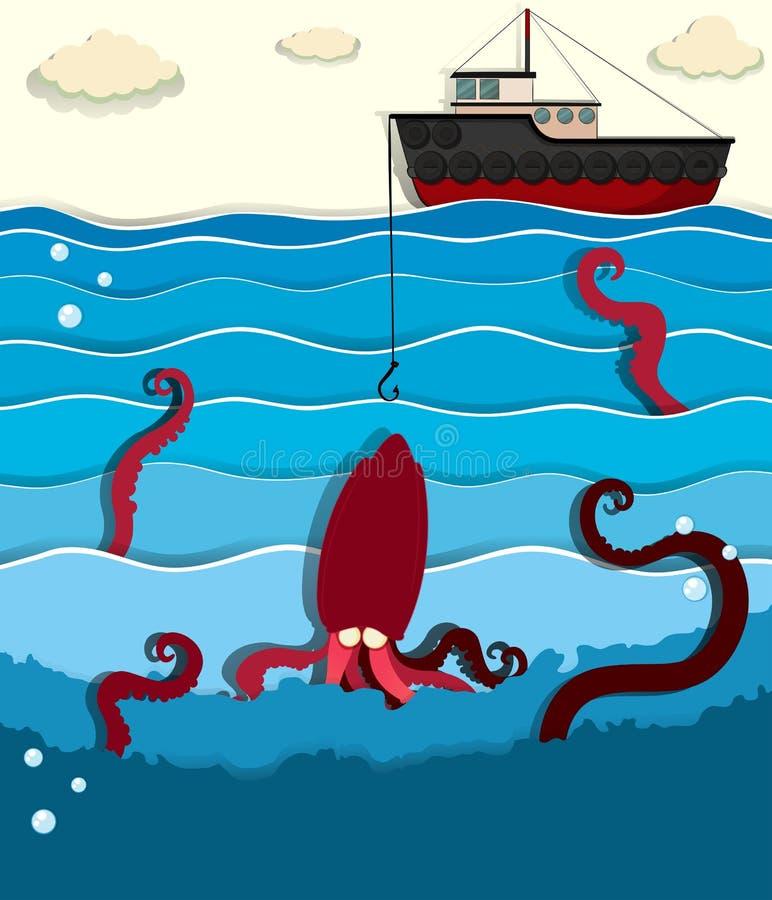 Poulpe et bateau de pêche géants illustration stock