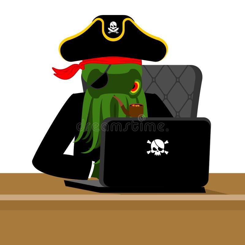 Poulpe et ordinateur portable de pirate de Web pirate informatique et PC d'Internet de poulpe De illustration libre de droits