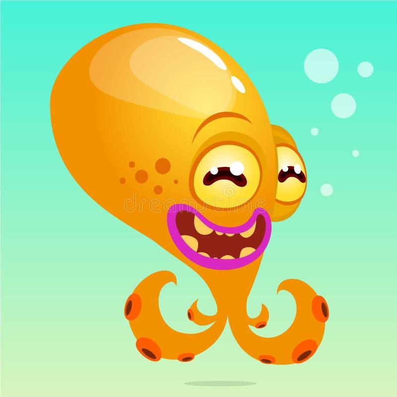 Poulpe mignon de bande dessinée Dirigez le poulpe jaune de Halloween avec des tentacules sur le fond sous-marin illustration stock