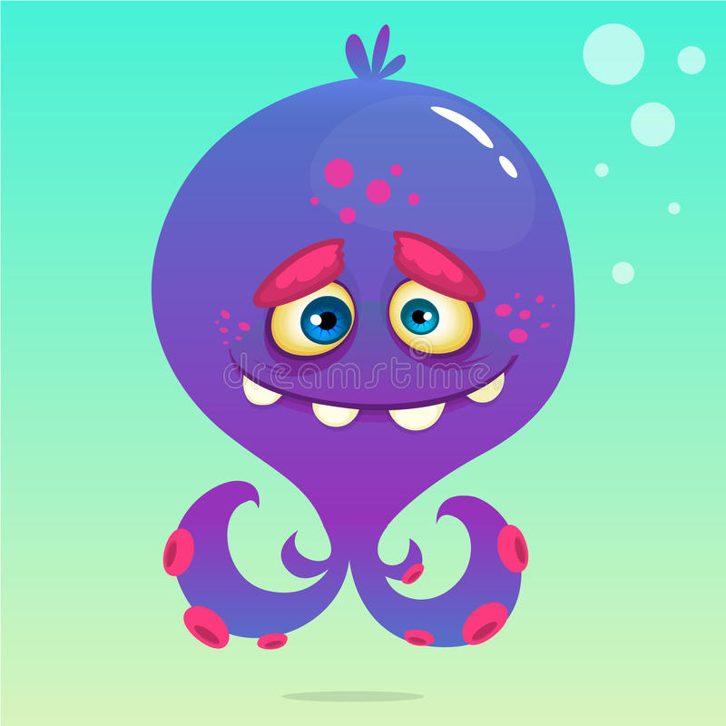 Poulpe mignon de bande dessinée Dirigez le poulpe pourpre de Halloween avec des tentacules sur le fond sous-marin illustration de vecteur