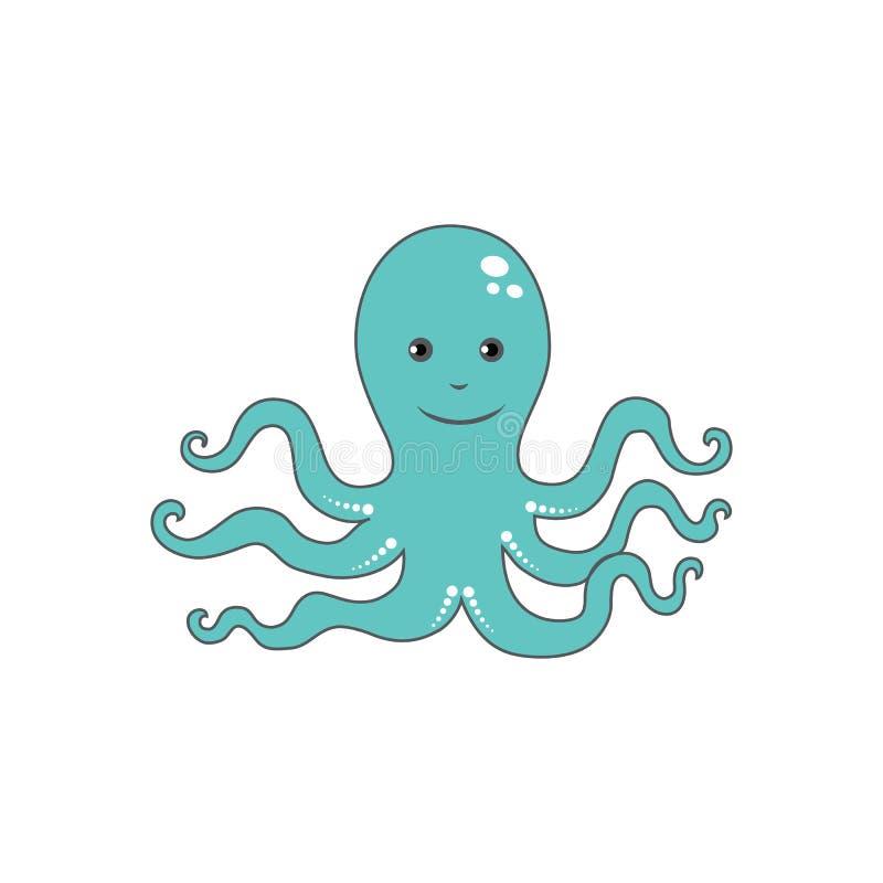 Poulpe mignon de bande dessinée, illustration drôle de vecteur animal marin d'enfant d'isolement sur le contexte blanc, créature  illustration libre de droits