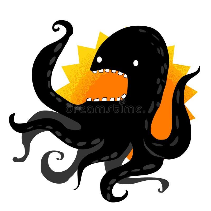 Poulpe noir cruel illustration de vecteur