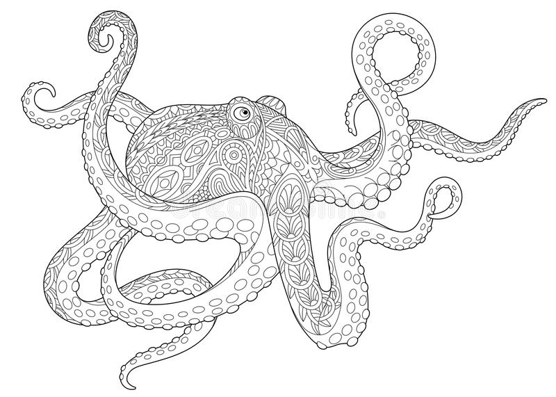 Poulpe Zentangle бесплатная иллюстрация