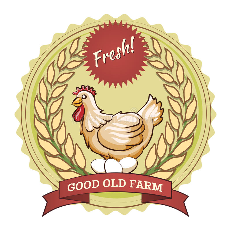 Poultry farm badge, chicken and eggs royalty free illustration