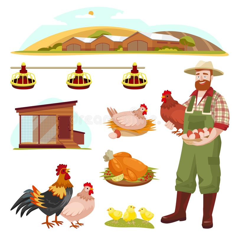 Poultry farm fowl, equipment and farmer, isolated on white background. Vector flat cartoon illustration vector illustration