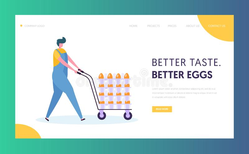 Poultry Farm Worker Wearing Uniform Overall Pushing Wheeled Cart with Chicken Eggs Production Packed at Manufacture Line vector illustration