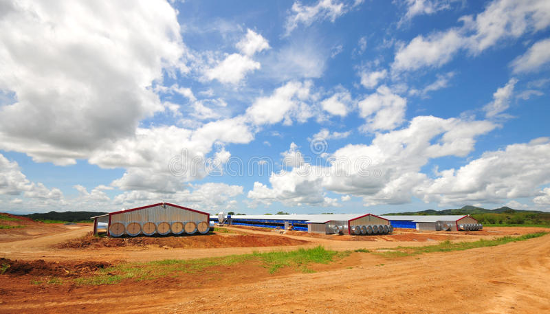 Poultry Houses. Modern poultry houses with tunnel ventilation systems in the countryside of panama stock images