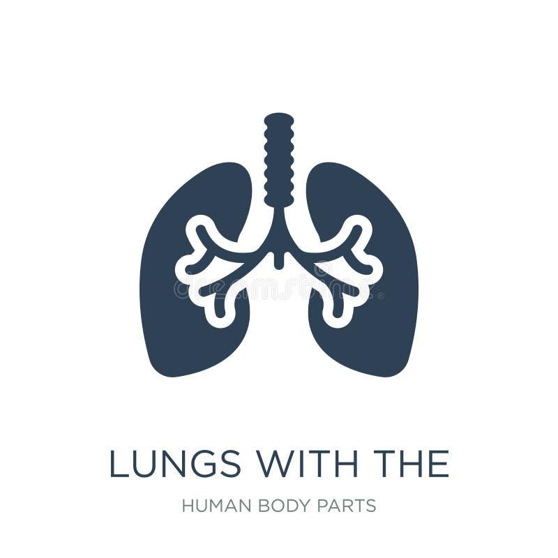 poumons avec l'icône de trachée dans le style à la mode de conception poumons avec l'icône de trachée d'isolement sur le fond bla illustration stock