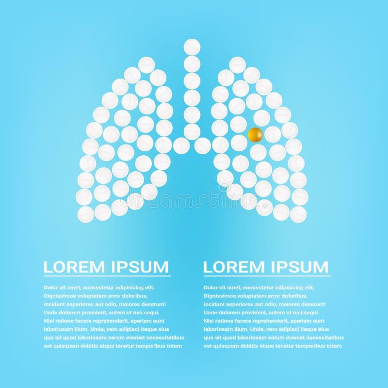 Poumons humains avec des pilules sur une illustration réaliste de vecteur de fond Concept médical produit par des pillules illustration de vecteur