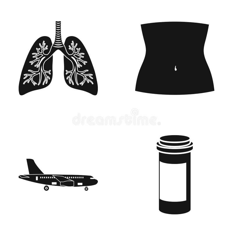 Poumons humains, partie du corps et toute autre icône de Web dans le style noir avion, icônes de récipient de médecine dans la co illustration libre de droits