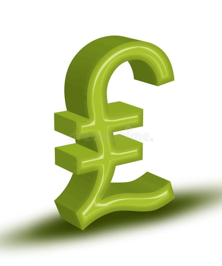 Pound. High resolution render of green 3D Pound symbol