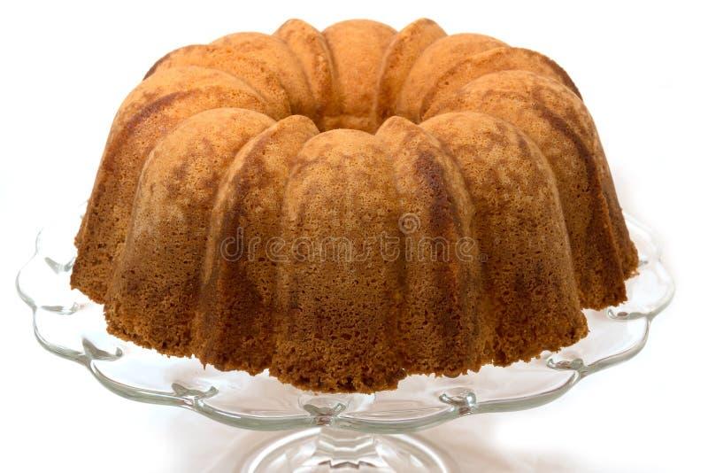 Pound Cake Isolated on White. Pound cake on cake plate. Isolated on white background stock images