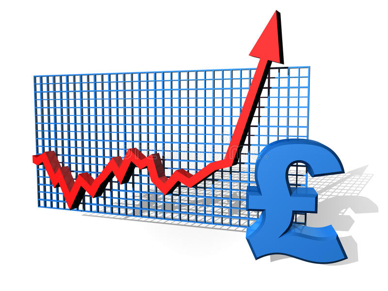 Pound chart. Illustration of a pound chart on the up royalty free illustration