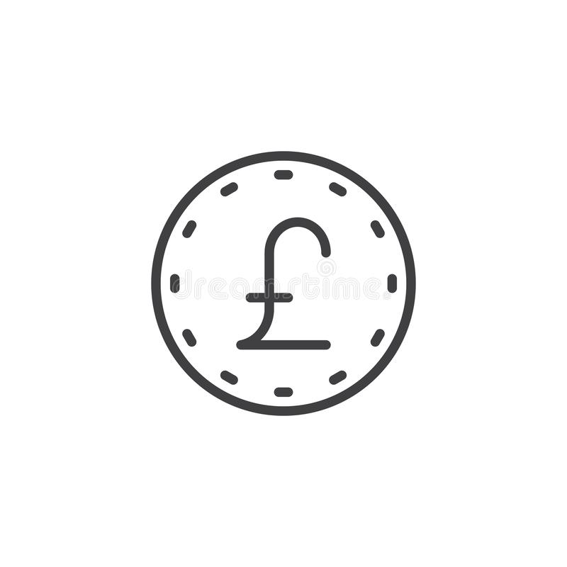 Pound coin line icon stock illustration