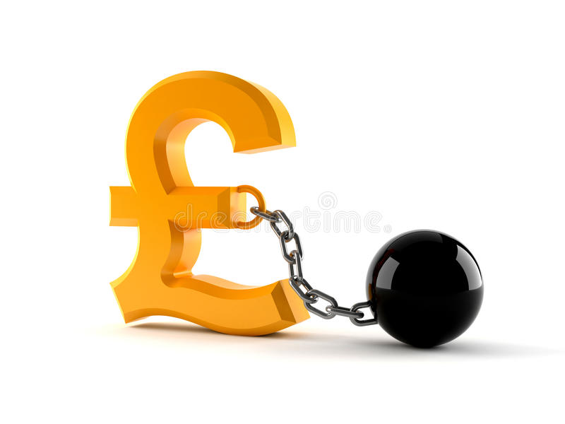 Pound Currency Symbol With Prison Ball Stock Illustration