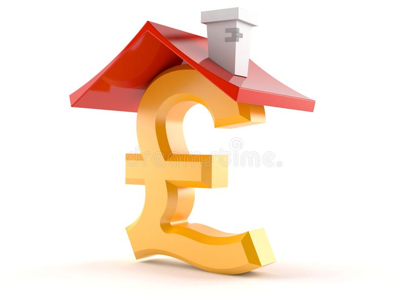 Pound Currency Symbol With Roof Stock Illustration Illustration Of