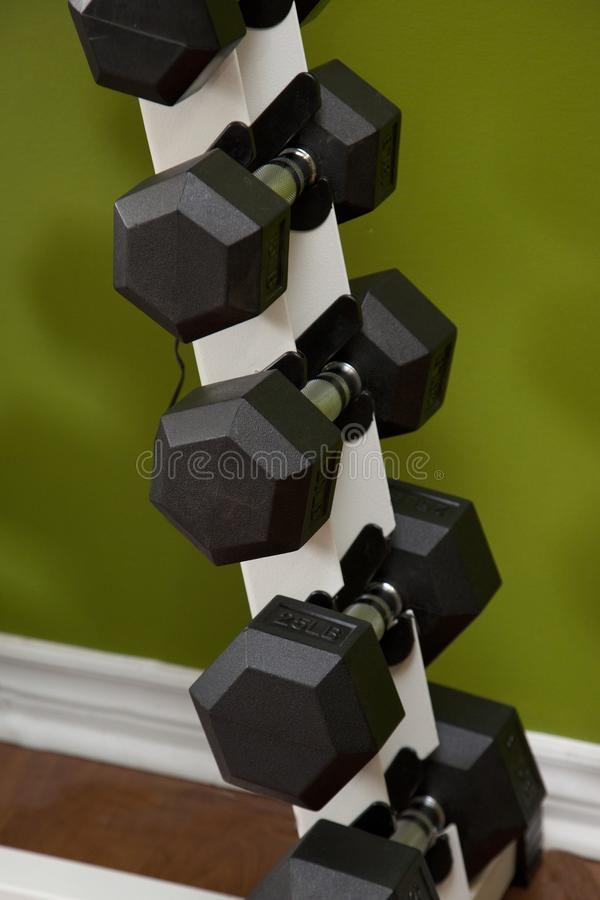 Close up stack of dumbells royalty free stock photo