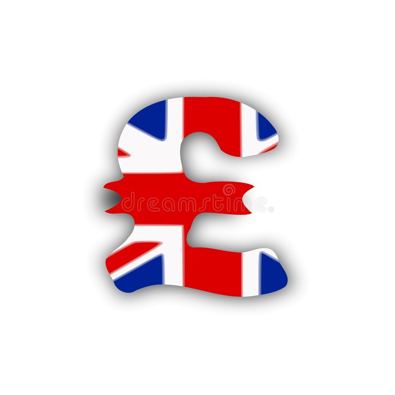 Pound and flag royalty free stock photo